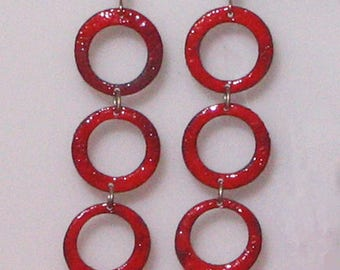 Red Enameled Dangle Earrings