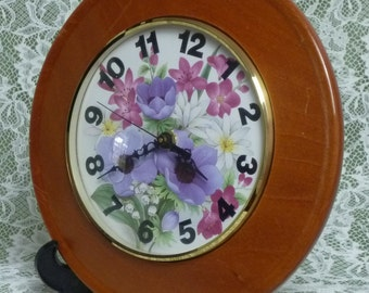 "UNIQUE FLORAL FACED Wall Clock 9.5"" dia. and 6"" face"