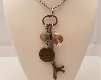 Vintage Skeleton Key Love necklace