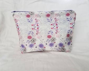 Light Purple Floral Make Up Bag