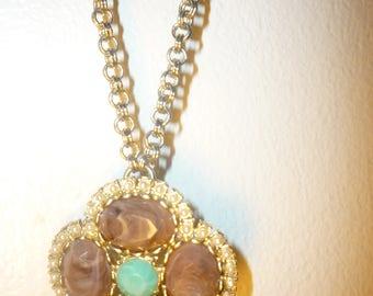 vintage flower pendant long necklace