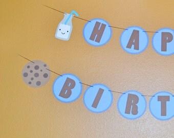 Cookies and milk birthday banner,  Happy birthday banner, cookies and milk party. milk and cookies party, cookies and milk birthday