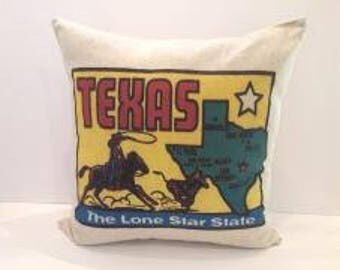 Texas the Lone Star State Map Pillow
