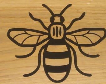 Manchester Bee Vinyl Car Decal Sticker 160mm x 130mm Lines Black B