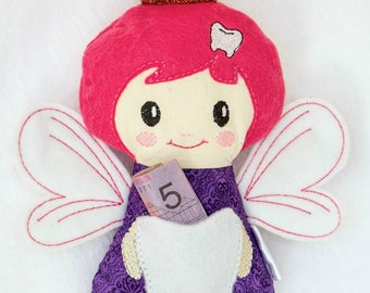 CUSTOM REQUESTS Tooth fairy stuffie doll plushie with pocket including personalised embroidered name or initial