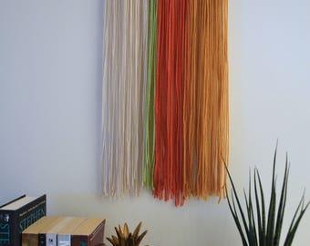 Yarn Wall Hanging Tapestry Desert Shades (Oat, green, orange, mustard)