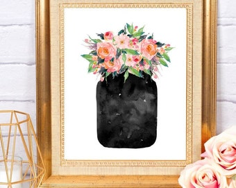 Jar of Flowers ~ Printable Art ~ Digital Download ~ Home Office Nursery Kitchen Decor Wall Art Printable Instant Download Watercolor Art