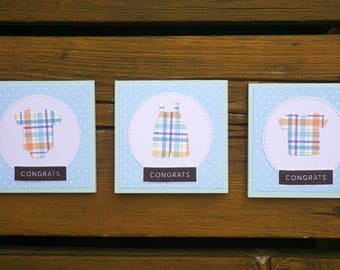 Note Cards, Handmade Greeting Card, Note Cards Set, Mini Cards, Mini Cards Set, New Baby, Baby Shower, Congrats, Congratulations, It's a Boy