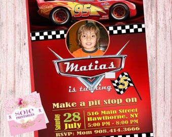CARS 3 CUSTOMIZE INVITATION- Customize your Invitation with your child's favorite picture!!!!!!