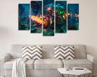 LARGE XL Canvas Print Battle Chasers, Wall Art Print Home Decoration, Canvas Decoration - Framed and Stretched - 3330