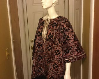 African print embroidery unisex top