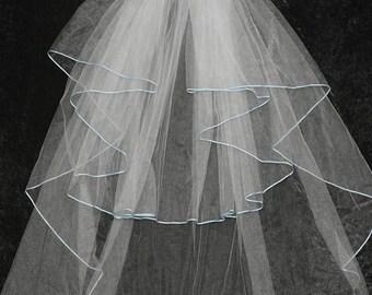 Wedding Veil with Sky Blue Trim