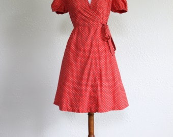 1960s Vintage Red Wrap Dress with Print