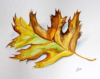Autumn Leaf Watercolor Painting