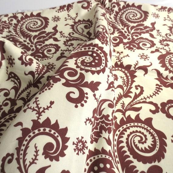 Amy Butler Home Decor Fabric, Ivory And Brown, Nigella Wood Fern, 4.8 Yards   DESTASH From Inlichen On Etsy Studio