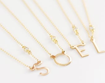 Alphabet Necklace with CZ Diamond - Initial Necklace - Modern Initial Necklace - Dainty Necklace