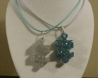 Puzzle Pieces - Friendship Necklace Pair - Resin Necklaces