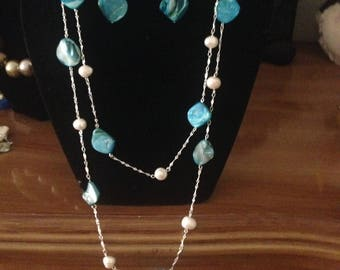 Inspirational Blue  Shells and White Fresh Water Pearls Necklace and Earrings