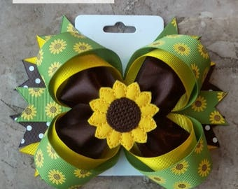 Sunflower Stacked Hair Bow