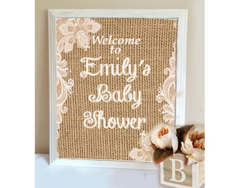 Rustic Burlap and Lace Baby Shower Welcome Sign