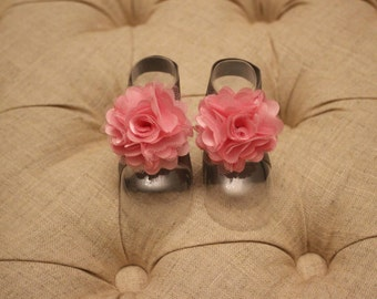 baby shoes, baby girl, girl shoes, baby sandals, pink flower, Campbell Petals