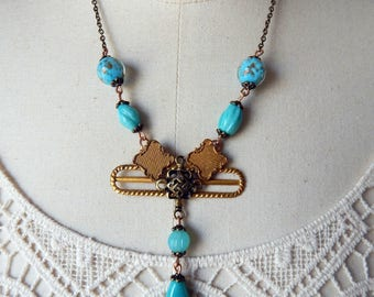 Edwardian Assemblage Endless Knot Turquoise Glass Aventurine Beads Pendant Necklace