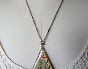 Persian Mother of Pearl Handpainted Double Side Pendant with Carved Ruby Beads