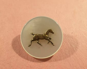 Mother of pearl button with horse design - 1930's.