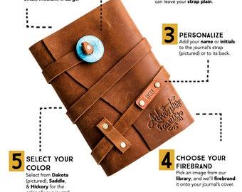 Premium Leather Wrap Journal--Handmade Custom Refillable Notebook...Adventure Awaits Stamped--PortlandLeatherFAST