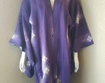 Japanese Purple and White Vintage Kimono Knee length Robe