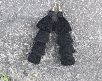 Black Four Layered tassel earrings,Black tassel earrings.