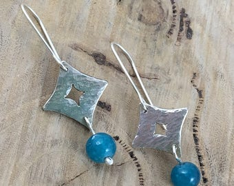 925 Silver Square Textured Dangle Earrings with Turquoise Beads