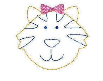 mini girl tiger with bow vintage quick bean stitch design file for embroidery