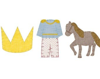 prince crown, prince outfit, and horse blanket stitch applique trio embroidery design