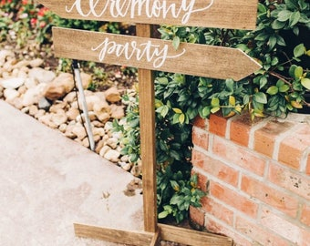 Wedding Direction Sign | Wooden Wedding Directional Sign | Rustic Wedding Signs | Reception and Ceremony Signs | Wedding Arrow Signs