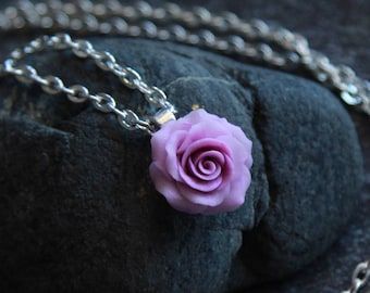 Floral pendant Necklace chain Rose pendant Small rose pendant Rose jewelry Lilac rose pendant Polymer clay pendant Womens jewelry Gift girls