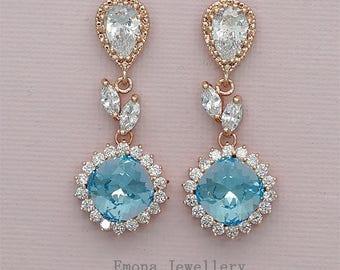 Aquamarine Earrings Chandelier Bridal Earrings Blue Wedding Earrings Swarovski Aquamarine Crystal Jewelry for Bridesmaids Something Blue