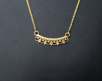 18k Gold Plated Charm necklace in 925 Sterling Silver Length 17 inch