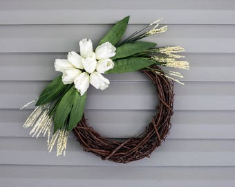 Tulip Wreath, Front Door Wreath, Cream Wreath, Neutral Wreath, All Season Wreath, Home Decor Wreath