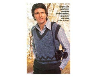 Mens Pullover & Vest Knitting Pattern - zigzag design, banded edges