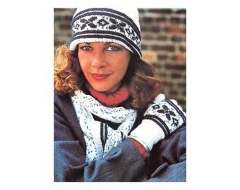 3-in-1 Knitting Pattern - Hat, Scarf, Gloves in snowflake winter design