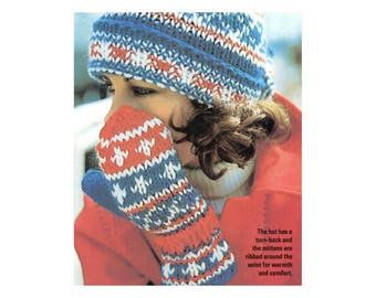 Hat & Mittens Knitting Pattern - Colorful Winter Design