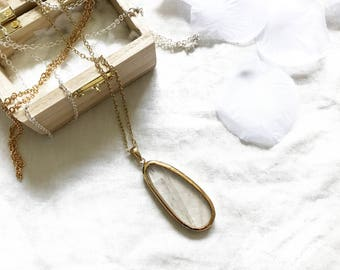 Crystal Clear Quartz - 14k Gold Plated Chain Necklace