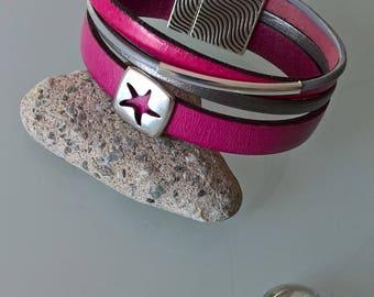 Pretty little raspberry/grey genuine leather cuff