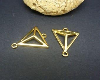2 connectors triangle 3D geometric 20 * 17mm gold-plated Zamak (PPCD01)