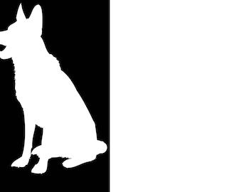 German Shepherd Dog Silhouette Viny Decal