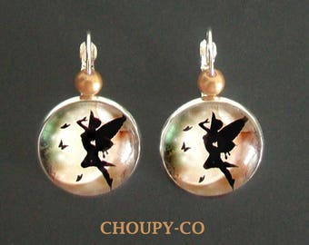 Earrings * fairy * fairy butterflies star beads silver beige silvery fantasy cabochon.