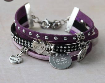 "Bracelet personalized with names ""Basic"" Blueberry"