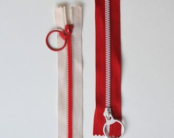 LOT 2 ZIP Bi Color Red-beige 15cms