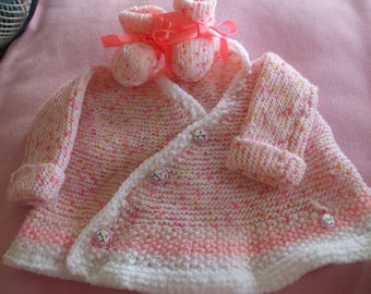 jacket or wrap and slippers Heather pink knit baby hands 6 months to 9 months